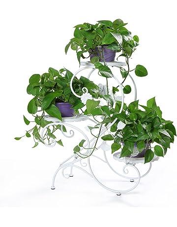 HLC Soporte para macetas Estantería para macetas en diseño de S Escalera para Plantas Flores con