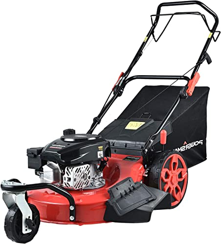 PowerSmart Lawn Mower, 20-inch 170CC, Gas Powered Self-Propelled Lawn Mower with 4-Stroke Engine, 3-in-1 Gas Mower in Color Red Black, 8 Adjustable Heights 1.21 -3.15 , PSM2020