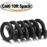 Ethernet Cable Cat 6 Flat 10 ft short Cat6 Network Patch Cable with Rj45 Connectors - 10 Feet Black (5 Pack)