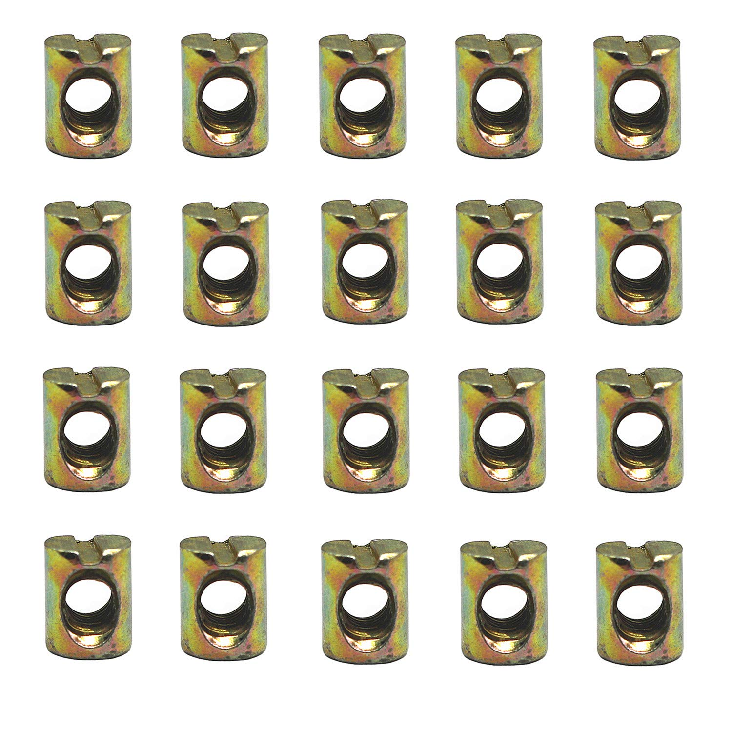 DD-life 50Pcs M6 Barrel Nuts Cross Dowels Slotted Nuts for Furniture Beds Crib Chairs, M6 x 12mm