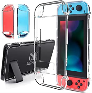 findway Switch Case Compatible with Nintendo Switch Cover Case Accessories Soft TPU Crystal Clear Transparent Shock Absorption Technology Bumper Protective for Nintendo Switch (2017)