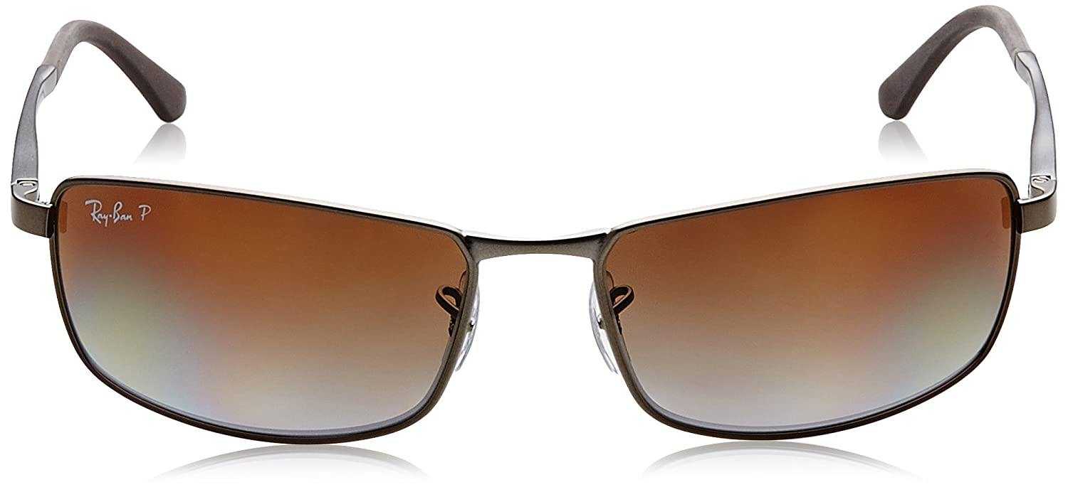 fa92cee3518 Ray-Ban Rectangle Wrap Sunglasses Matte Gunmetal Gradient Grey Brown  Polarised RB3498 029 T5 61