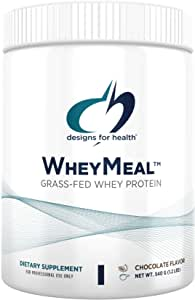 Designs for Health WheyMeal - Chocolate Grass Fed Whey Protein Powder with 16g Protein (15 Servings / 540g)