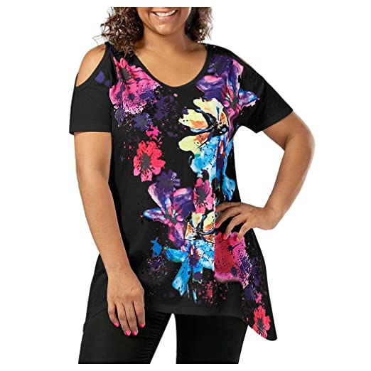 56be99f65b8d45 Inkach Plus Size Women Summer Short Sleeve T-Shirt ❤ Floral Printed Cold  Shoulder