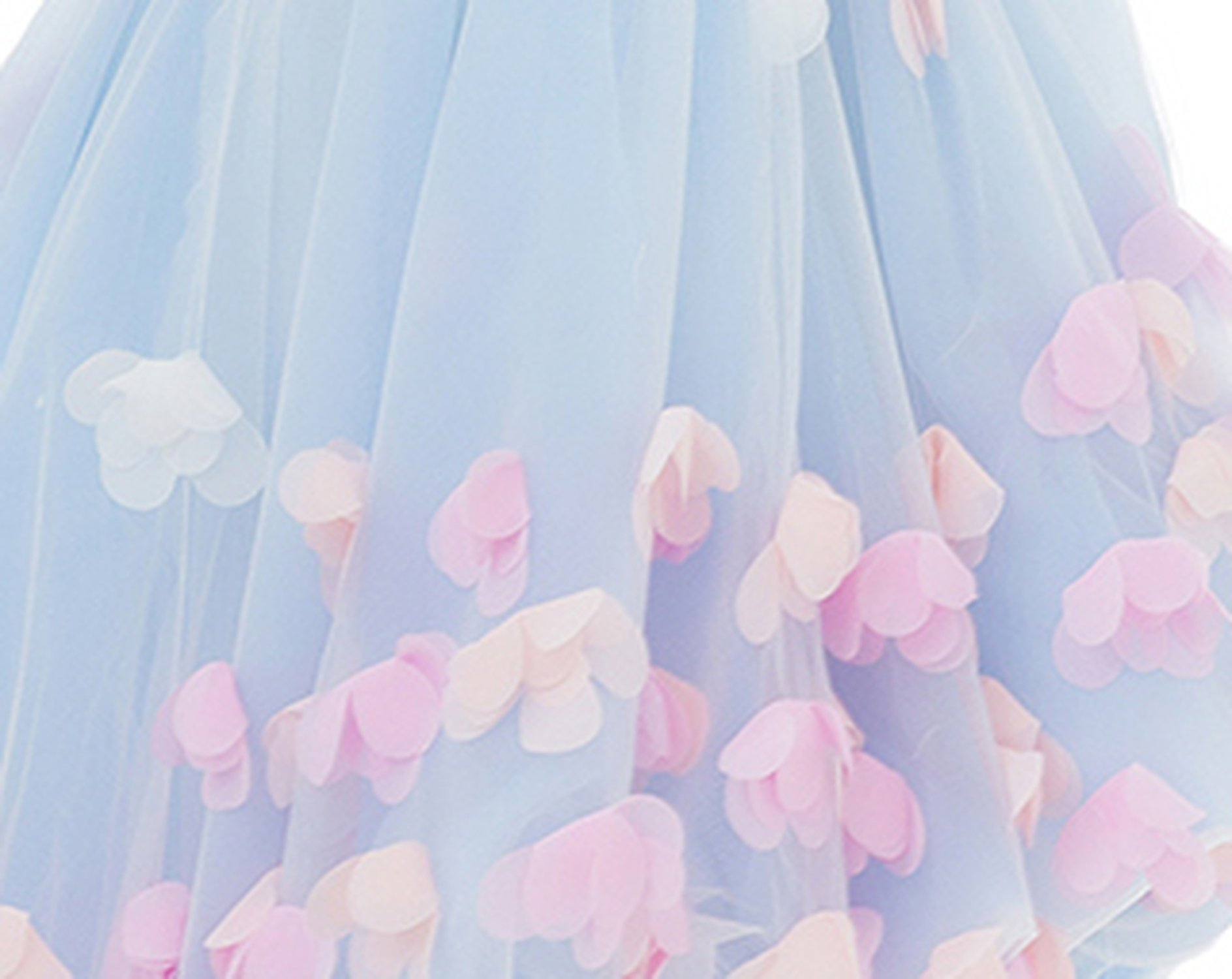 Sweet Flower Girl Dresses for Wedding The Children Party Gown Straps A-line Short Photography Dress,Blue,Child-4