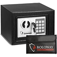 ROLOWAY Steel Small Money Safe Box for Home with Fireproof Money Bag for Cash Safe Hidden, Security Safe Box for Money…