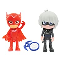 Giochi Preziosi - Super Pigiamini Pj Mask, Coppia Personaggi, Gufetta con Funzione e Lunetta
