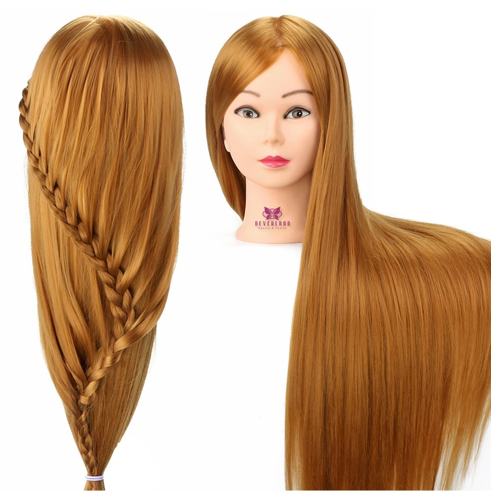 Neverland 26 Inch Synthetic Fiber Hair Cosmetology Manikin Head Doll Head with free Clamp for Practicing Cutting Setting Braiding cosmetology mannequin head doll training head hairdressing head salon head mannequin head NEVERLAND Beauty & Health