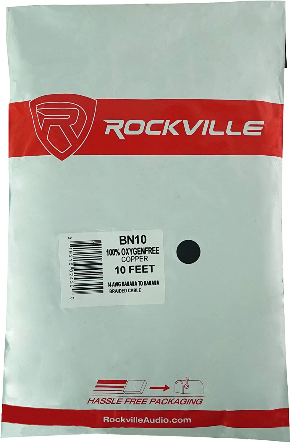 Rockville BN10 10 Foot 14 AWG 100/% OFC Copper Banana to Banana Braided Pro Cable