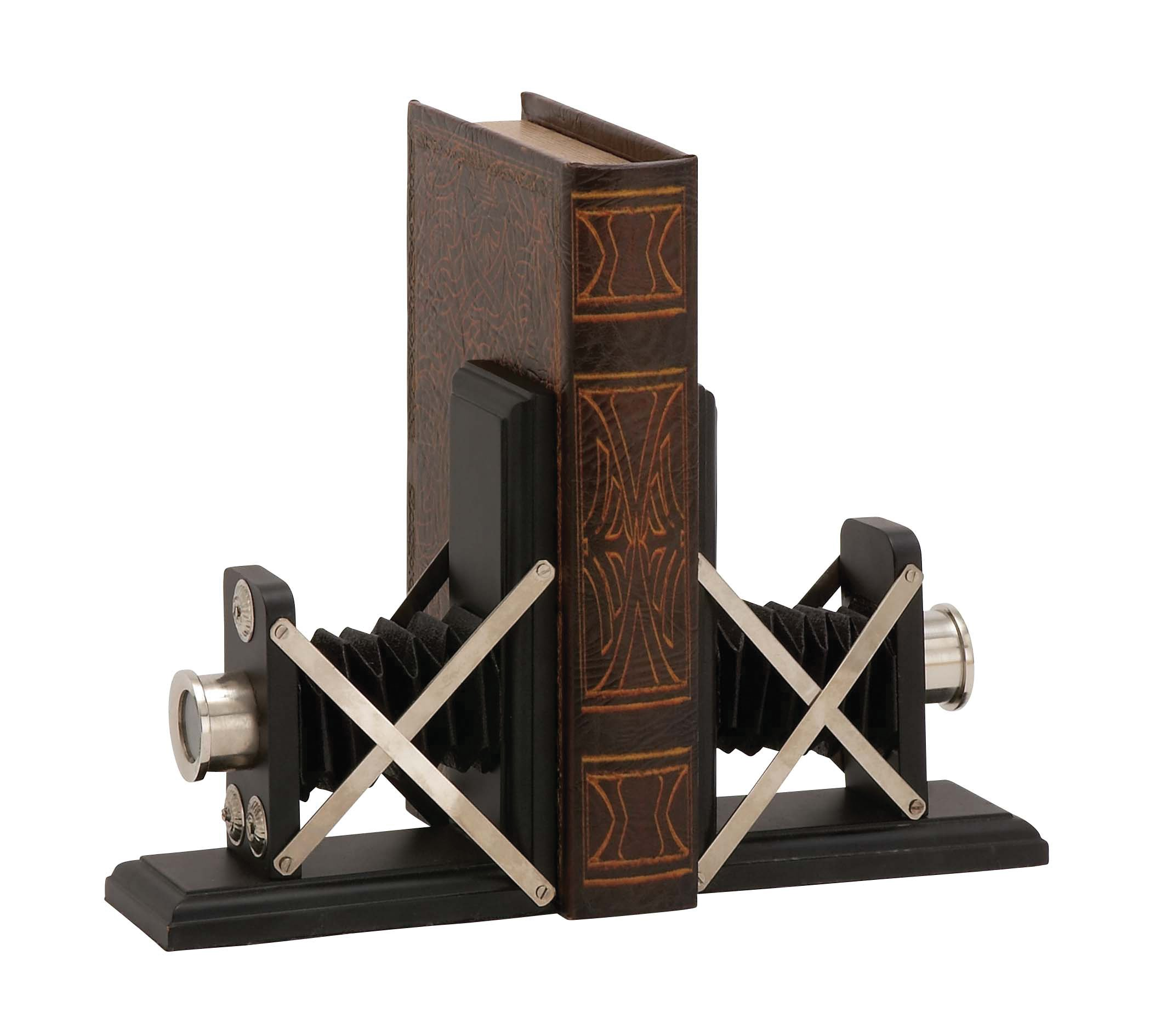 Plutus Brands Creative Styled Wood Metal Bookend Pair