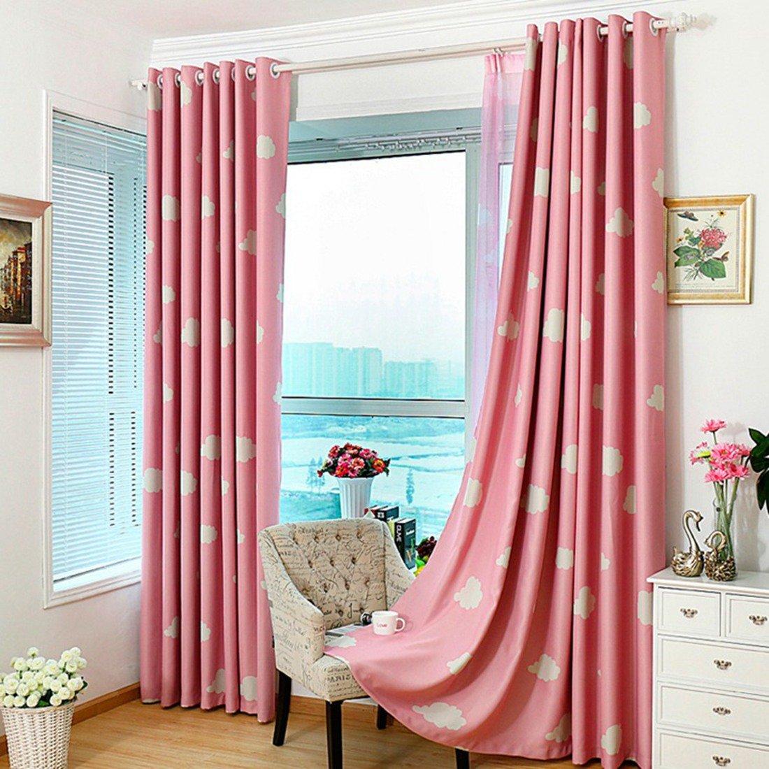 Pinji Lot de 2 Rideaux Occultants /à Oeillets Fen/être 100x250cm pour Salon Isolant Thermique Chambre /à Coucher Bureau Rose