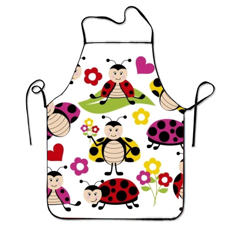 Happy Ladybugsキッチン料理エプロン女性と男性用調節可能なネックストラップレストランホームキッチンエプロンBib for、料理BBQ   B07FTCHJ6M