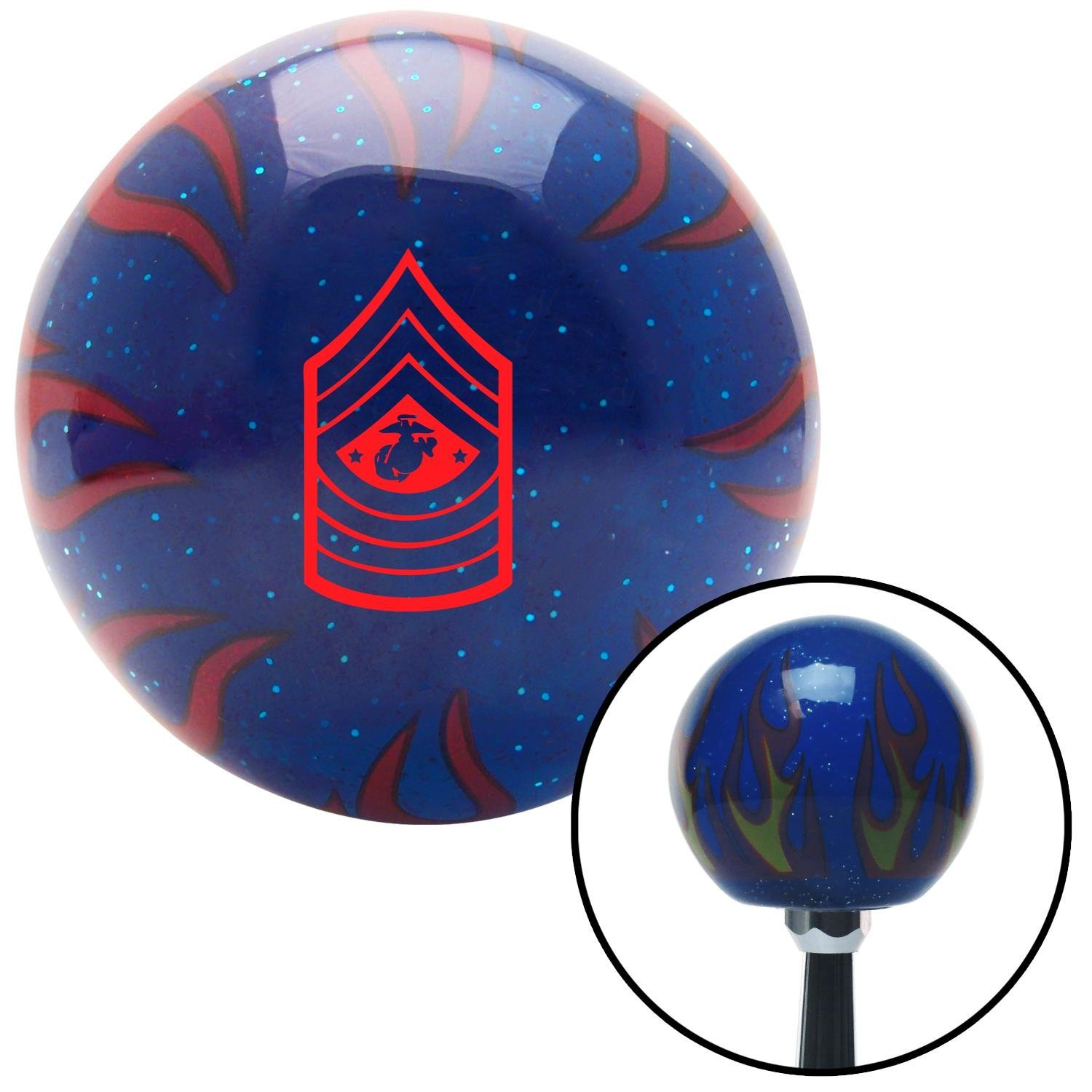 Red 11 Sergeant Major of The Marine Corps American Shifter 249928 Blue Flame Metal Flake Shift Knob with M16 x 1.5 Insert