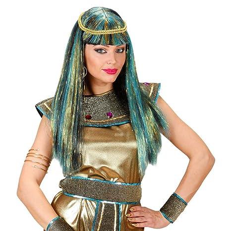 Peluca de carnaval de Cleopatra futurista con destellos de luz cabello arte egipcio pelo brillo oriente