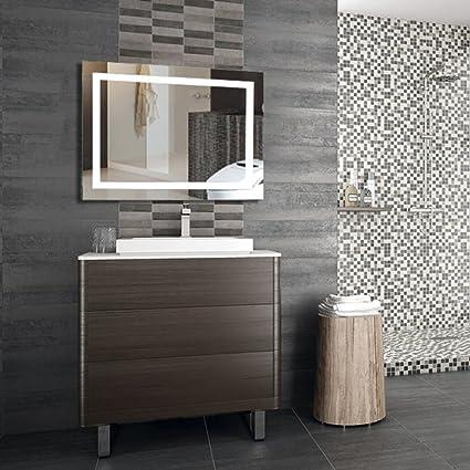 WeFun Specchio Luce LED,100 x 60cm specchio bagno con Illuminazione ...