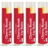 USDA Organic Lip Balms by Sky Organics (4 Pack) Cherry Bomb Lip Balms Blended with Sunflower Seed Oil Beeswax Coconut Oil and