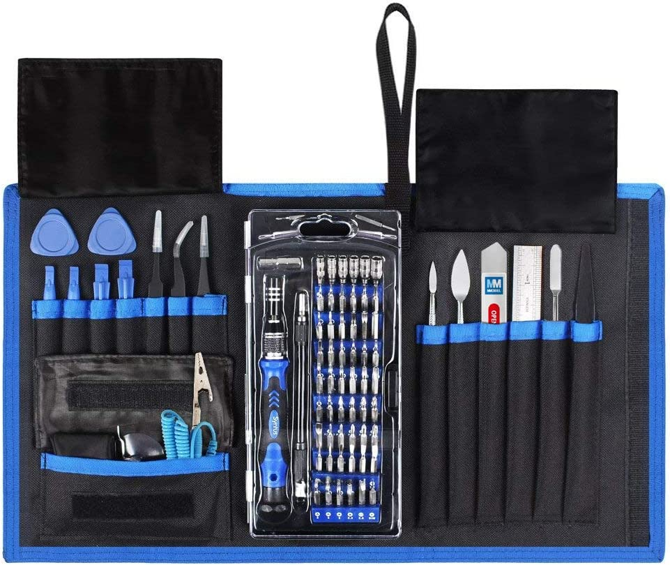 MMOBIEL Professional Screwdriver Repair Tool Kit 80 in 1 with 56 Bits Compatible with Electronic Devices in Folding Bag