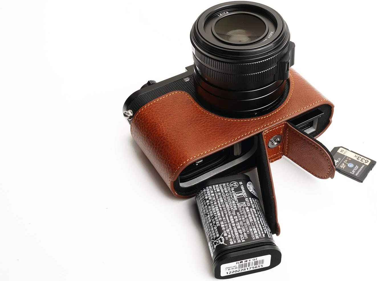 Handmade Genuine Real Leather Half Camera Case Bag Cover for Leica Q2 Black Color