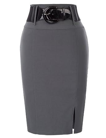 Falda Mujer sólidas Bien Elástico Vintage con Cinturón Estilo ...