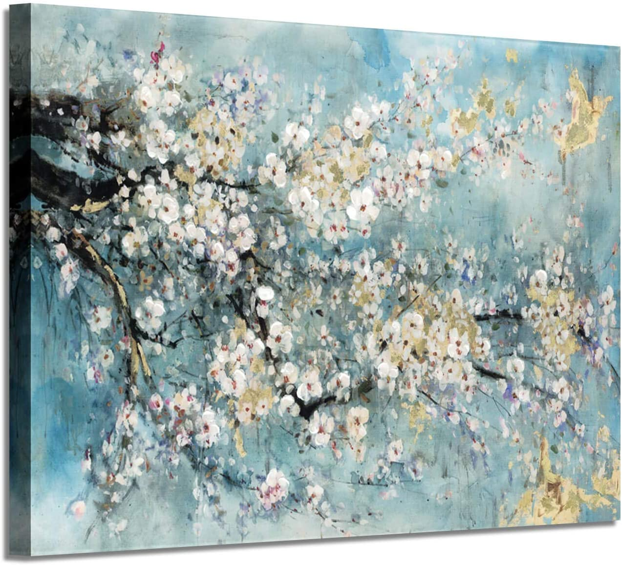 Abstract Flower Canvas Wall Art Dogwood Painting Artwork Picture For Living Room 36 W X 24 H Multi Sized Paintings