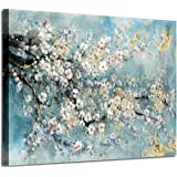 Abstract Canvas Painting Flower Picture: Teal Floral Wall Art on Canvas for Office (36'' x 24'' x 1 Panel)