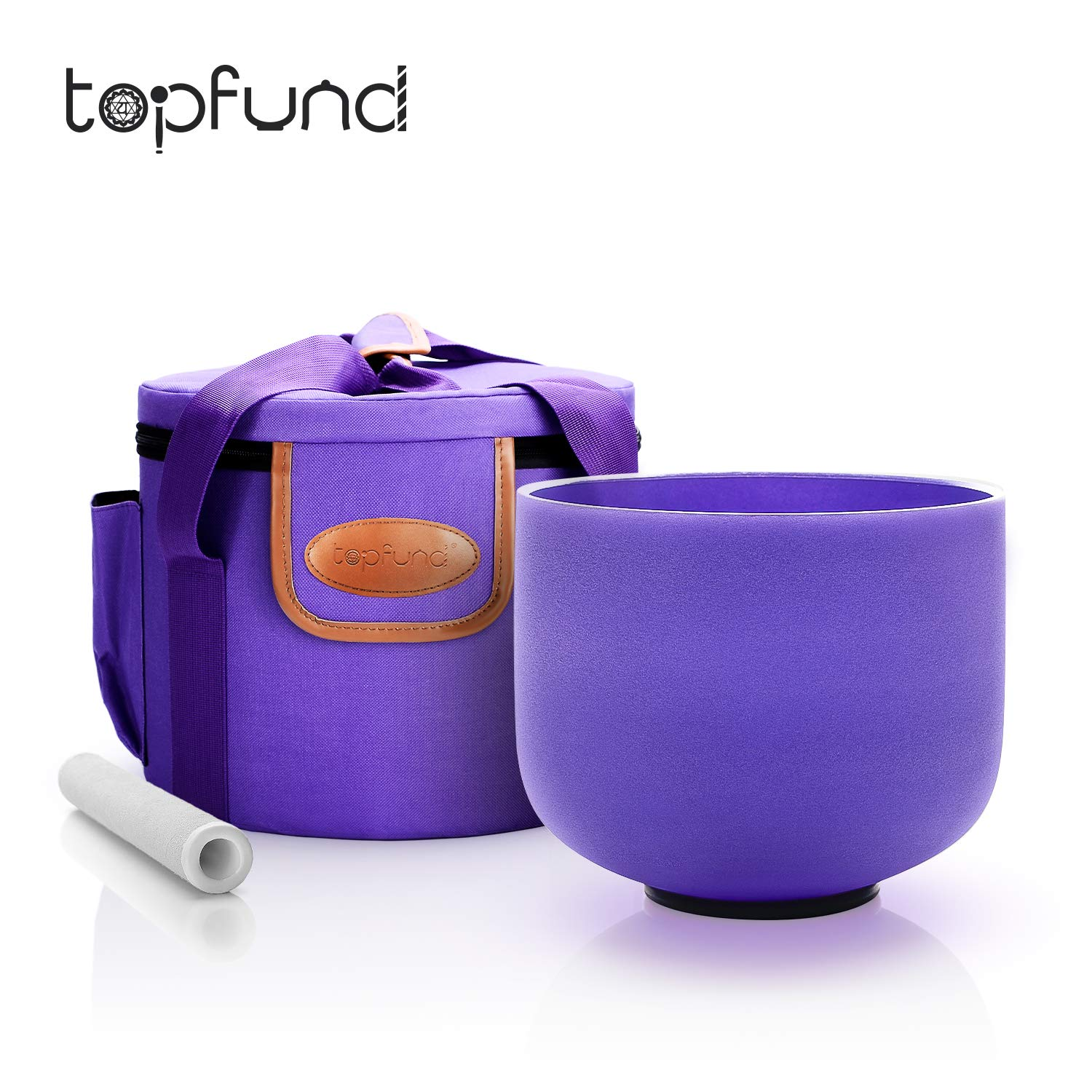 TOPFUND A Note Indigo Color Crystal Singing Bowl Third Eye Chakra 8 inch with Heavy Duty Singing Bowl Carrying Case and Sound Bowl Suede Striker and O-ring