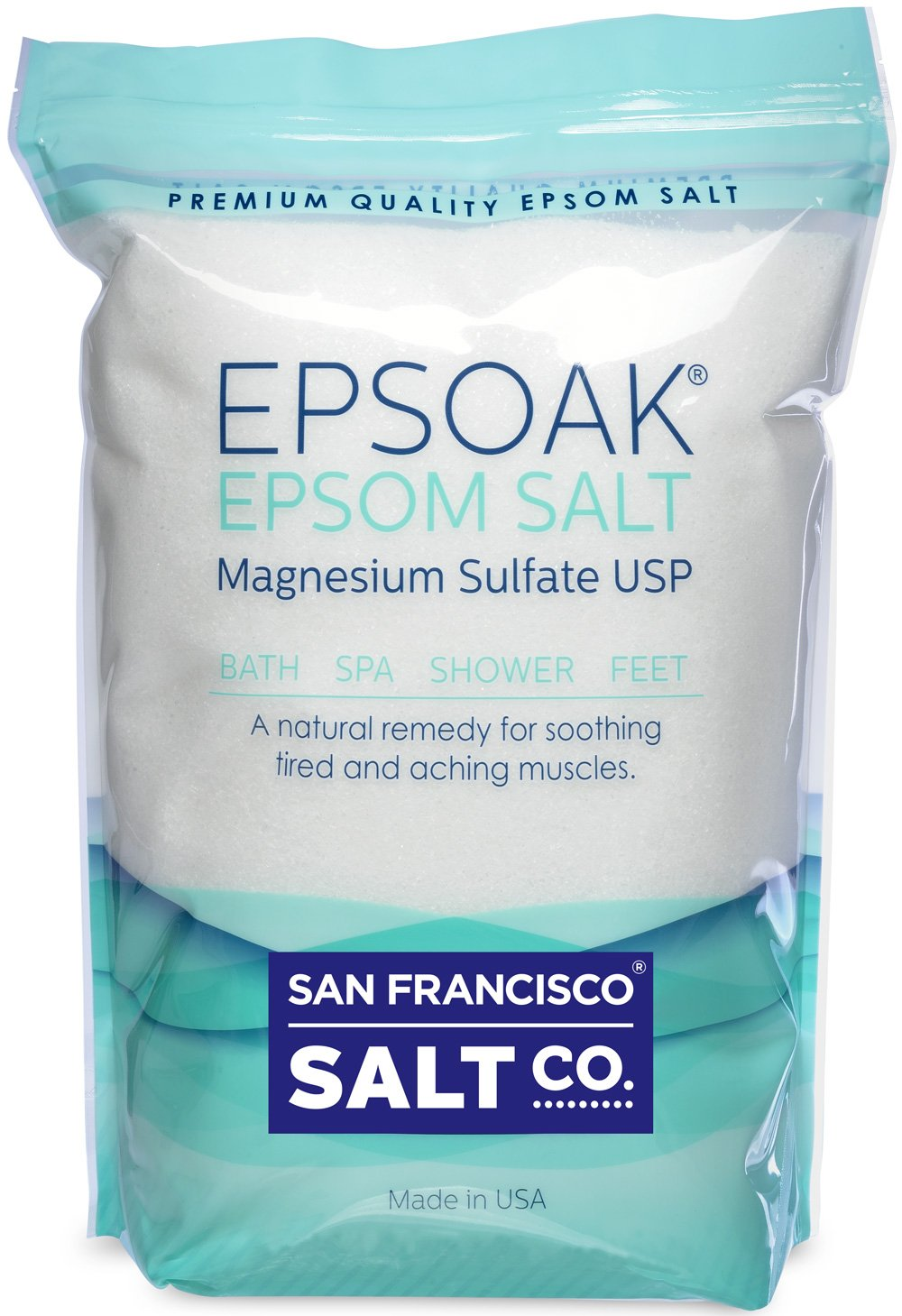 Epsoak Epsom Salt 2 Lbs - 100% Pure Magnesium Sulfate, Made in USA