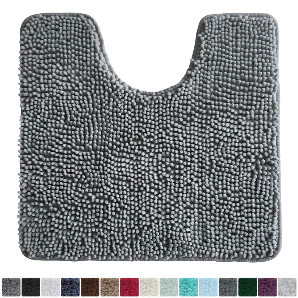 Gorilla Grip Original Shaggy Chenille Oval U-Shape Contoured Mat for Base of Toilet, 22.5x19.5 Size, Machine Wash and Dry, Soft Plush Absorbent Contour Carpet Mats for Bathroom Toilets (Gray)