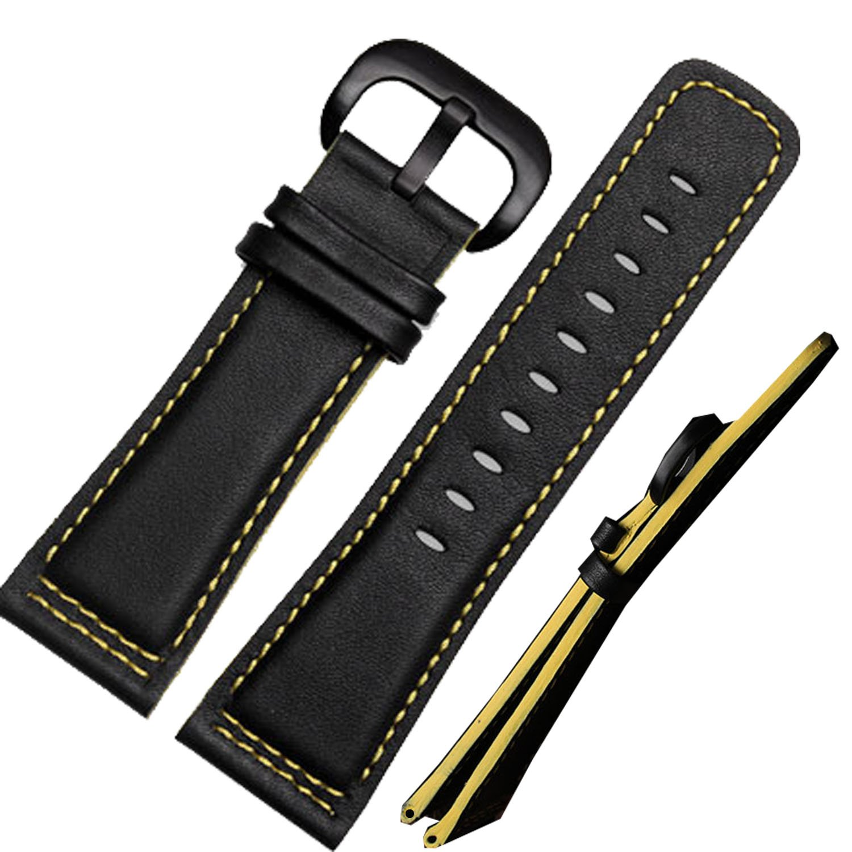 イエローエッジ ブラックレザー 腕時計用ベルト ブラックバックル 28 mm時計ベルト用  B01MSIG8YW