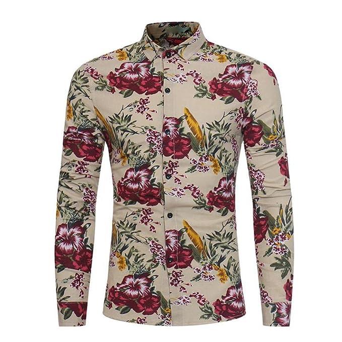 Hombres Moda Vistoso Floral Impresión Camisa, WINWINTOM Botón Manga Larga Blusa (Caqui, M