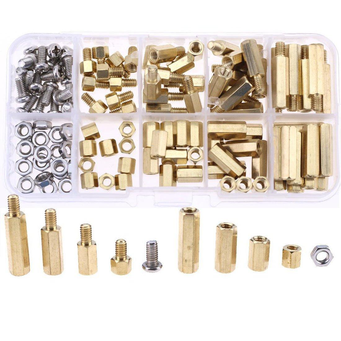 Jekewin 8 Sizes 120pcs Universal M3 Brass Standoffs Nut Screws Assortment Kit