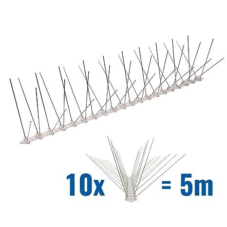 5 metros de Púas antipalomas con base de Policarbonato - 4-hileras de Púas antipalomas la solución de calidad para el control de aves