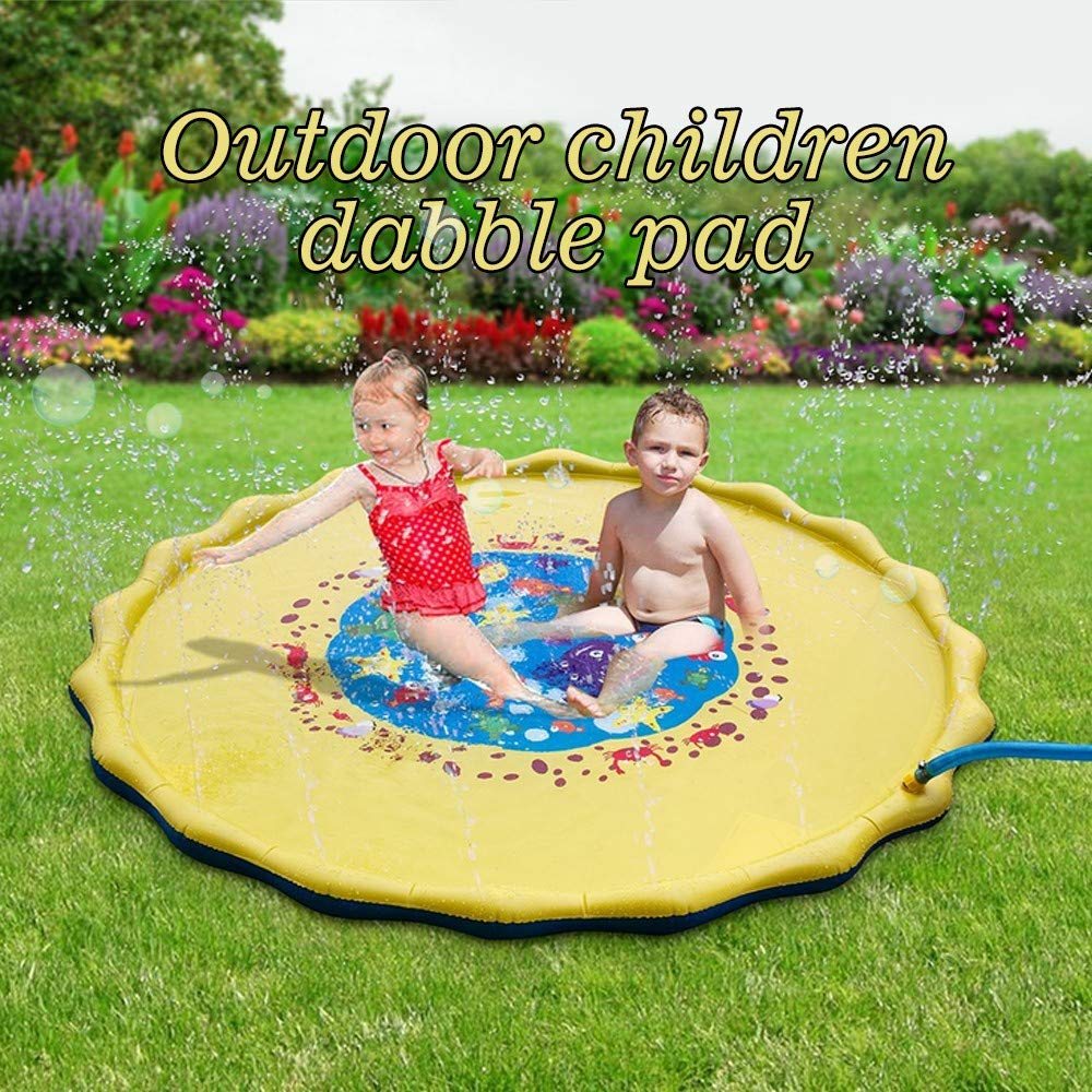 Kids Sprinkle & Splash Play Mat - Two Valves Quick Draining - Perfect Outdoor Water Toy Kids - 67 inches Large Enough 3 to 4 Kids - Baby's Water Play Mat