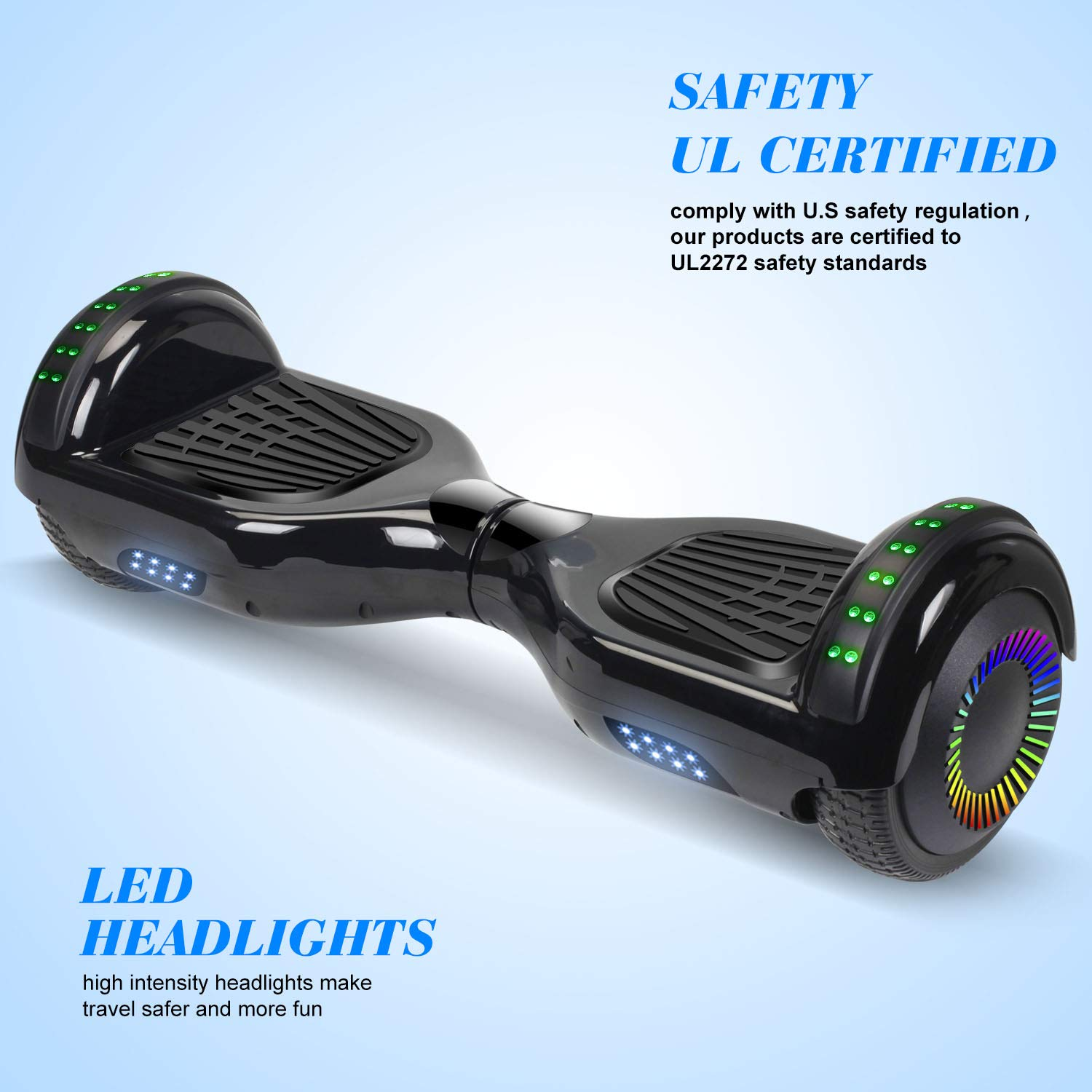 """SWEETBUY Hoverboard UL 2272 Certified 6.5"""" Two-Wheel Bluetooth Self Balancing Electric Scooter with LED Light Flash Lights Wheels Black (Free Carry Bag) by SWEETBUY (Image #3)"""