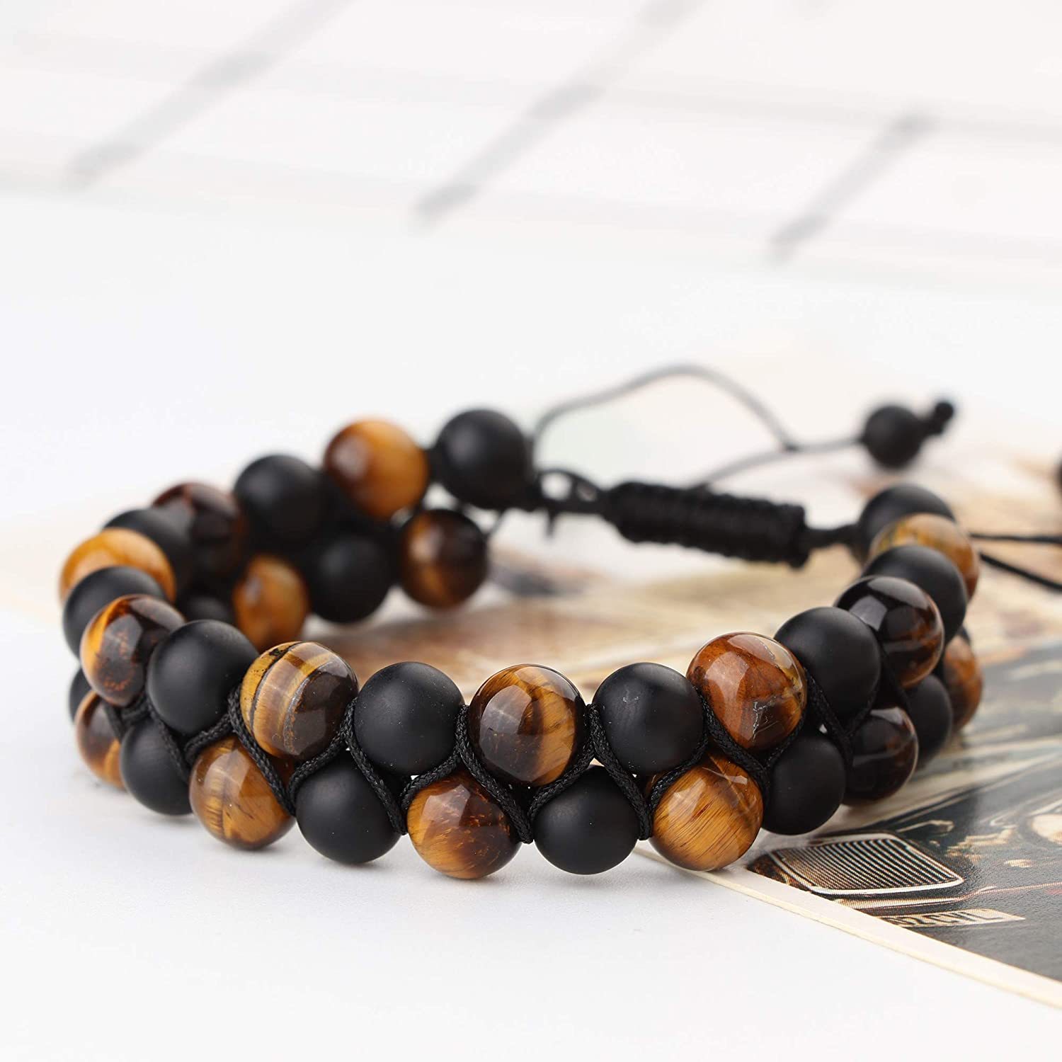 Thunaraz 8mm Men/'s Bracelet Diffuser Bracelet Lava Rock Braided Rope Natural Stone Bracelet Gifts for Men