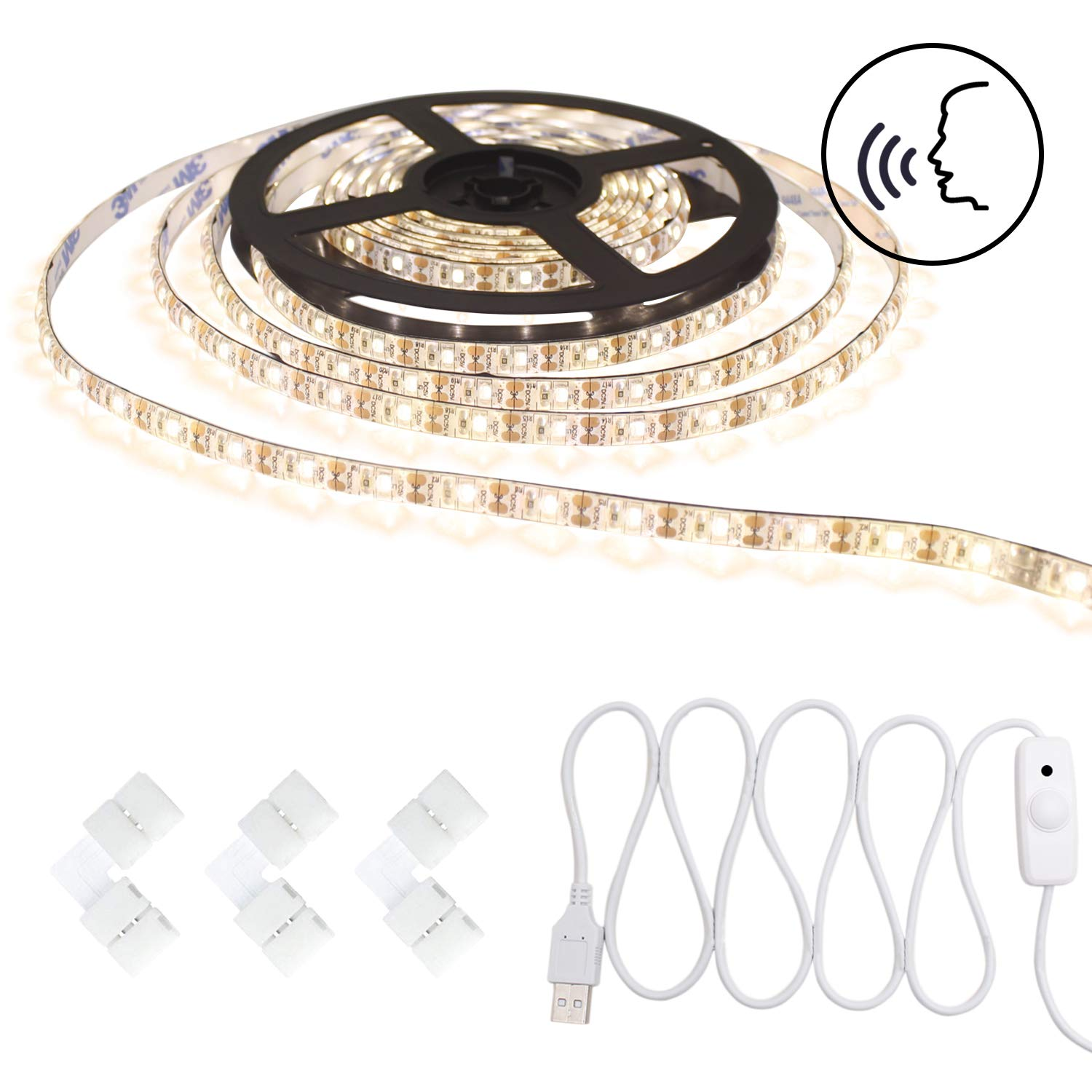 Smart Voice Control Led Strip Light Waterproof Warm White Stepless Dimmable USB 5v Tape Rope Light 16.4ft/5m 300 Units SMD 3528 LEDs for Makeup, Party, Decoration by Tronsnic (Warm White)