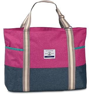 Strandtasche groß XXL viele Taschen Urlaubstasche Freizeittasche Sommer mit Reißverschluss (Azalee/Rosa) Fabrizio