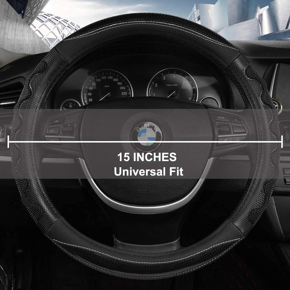 Black Panther Luxury Leather Car Steering Wheel Cover with 3D Honeycomb Hole Anti-Slip Design Black,1 Piece 15 /× 3.3 Inches