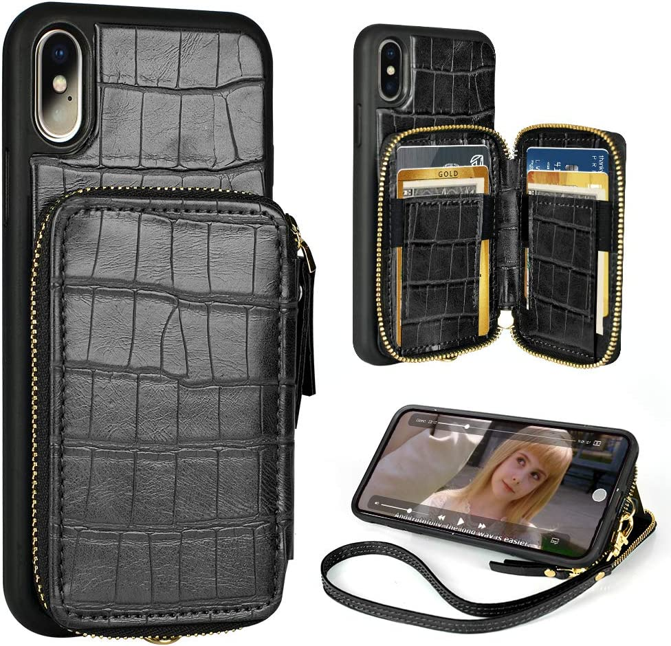 Wallet Case for iPhone Xs and iPhone X 5.8 inch Leather Wallet Case with Credit Card Holder Slot Zipper Crocodile Skin Pattern Wallet Purse Handbag Protective Cover for Apple iPhone Xs 2018 -Black