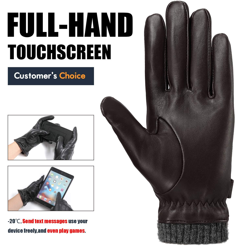 Da Uomo Pelle di pecora Guanti in pelle con fodera elastica Polsini Inverno Touch Screen