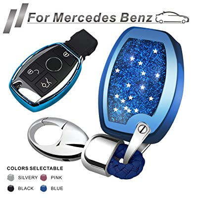 RYE for Mercedes Benz Key Fob Cover with Glitter Liquid Quicksand,Flowing Bling Sparkle Key Fob Case Fit Benz A B C E G S R M G CLS CLK GLK GLC Class Keyless Smart Key Fob - Blue: Automotive