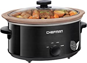 Chefman XL 5 Qt. Slow Cooker, All-Natural, Glaze & Chemical-Free Pot , Stovetop or Oven Cooking, Dishwasher Safe Crock; Naturally Nonstick & Paleo-Friendly, Low-Lead Stoneware, Bonus Recipes Included