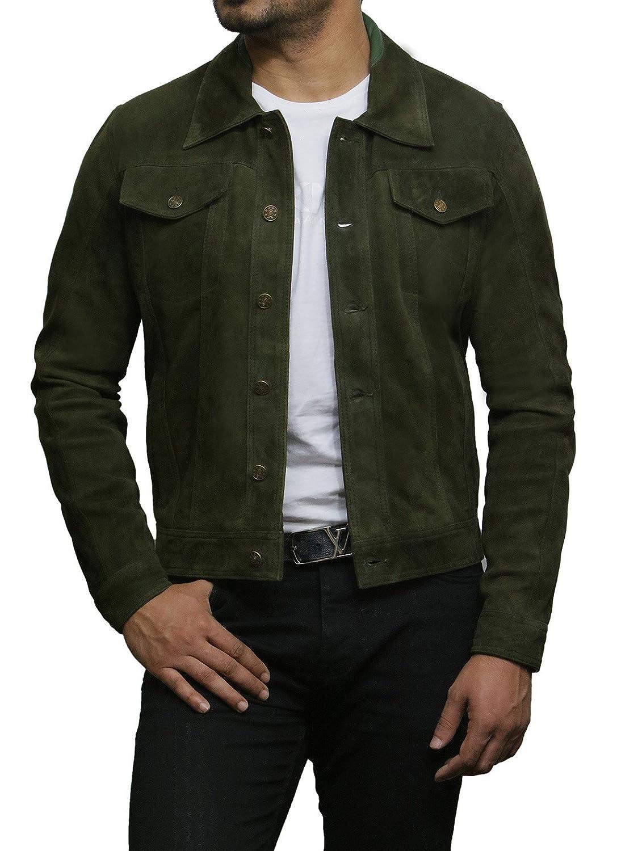 Brandslock Mens Genuine Leather Biker Jacket Vintage Shirt Style at Amazon Mens Clothing store: