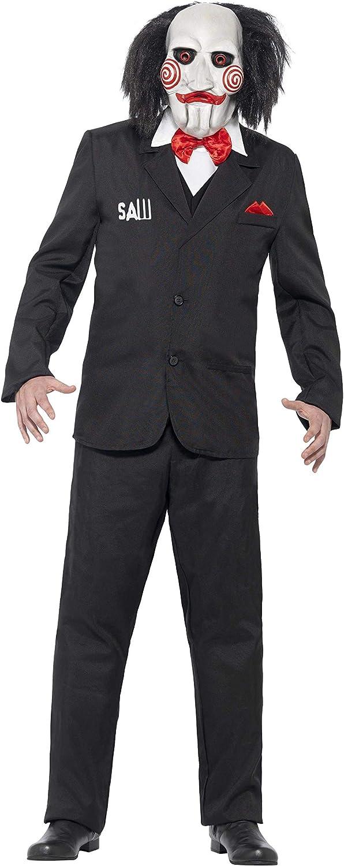 Smiffys-20493L Licenciado Oficialmente Disfraz de Saw Jigsaw, con Careta, Americana, Camisa y Falso Chaleco, Color Negro, L-Tamaño 42