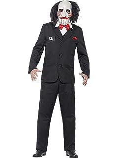 Smiffys-20493XL Licenciado Oficialmente Disfraz de Saw Jigsaw, con Careta, Americana, Camisa y Falso Chaleco, Color Negro, XL-Tamaño 46