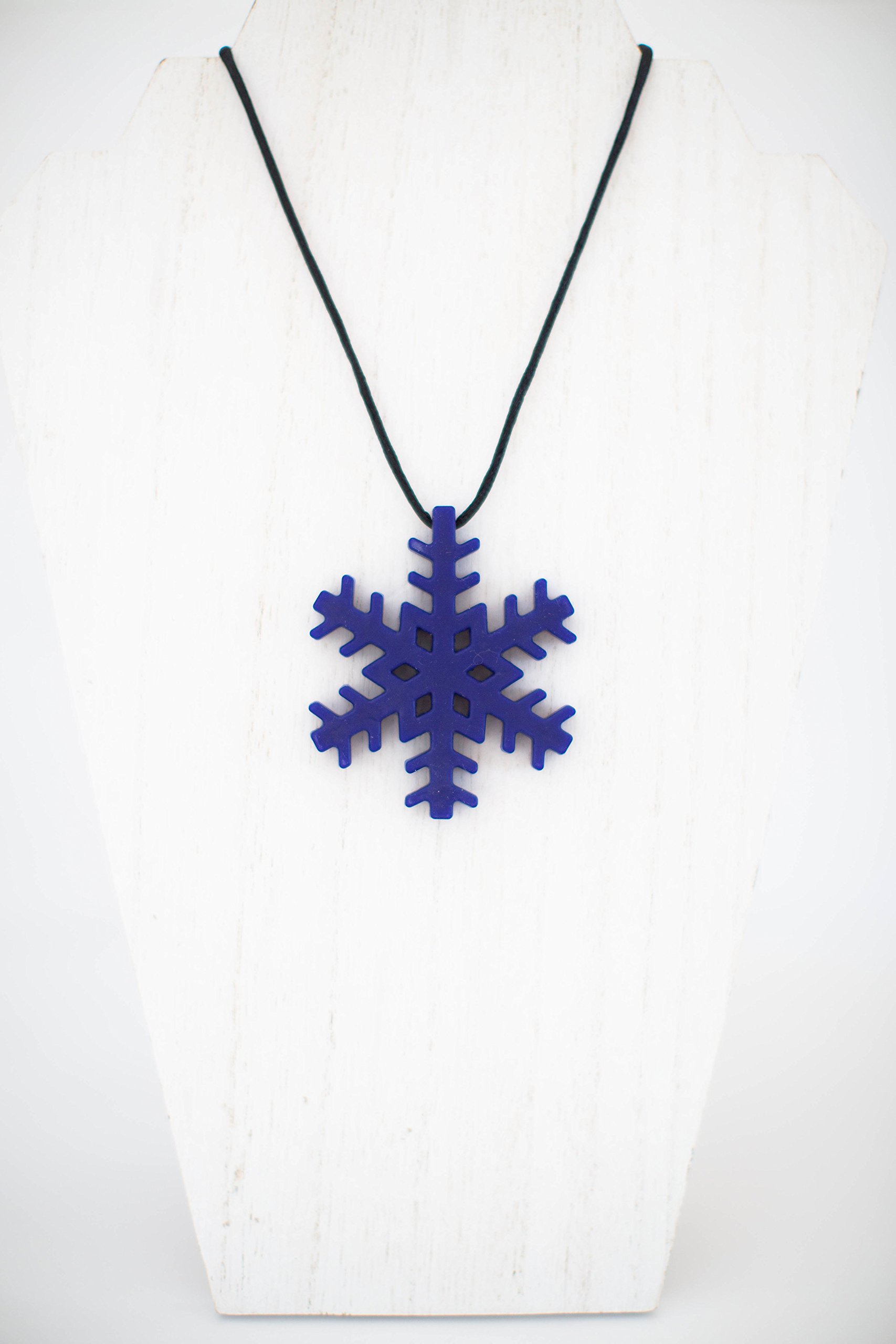 Chewby Chewelry Snowflake Chewlery Chew Necklace - Chewy Oral Sensory Aid Teether - Useful for Autism, SPD - for Boys and Girls; Children