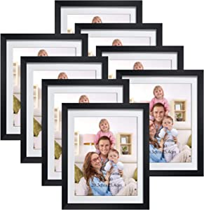 Giftgarden 8x10 Picture Frames Black Set of 8, Matted to Display Multiple 8 by 10 Pictures Photos for Wall Decor Floating or Tabletop Decoration