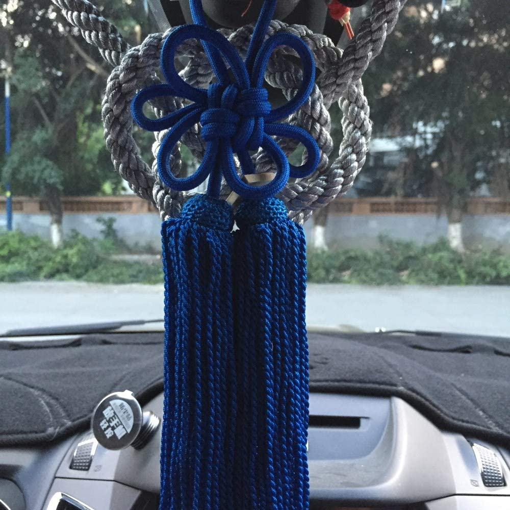 Gold Blue Jiannavip 1Set Lucky Chinese Auspicious JP Kintsuna Rope Blue Kiku Knot for Car Rearview Mirror Charms Ornaments
