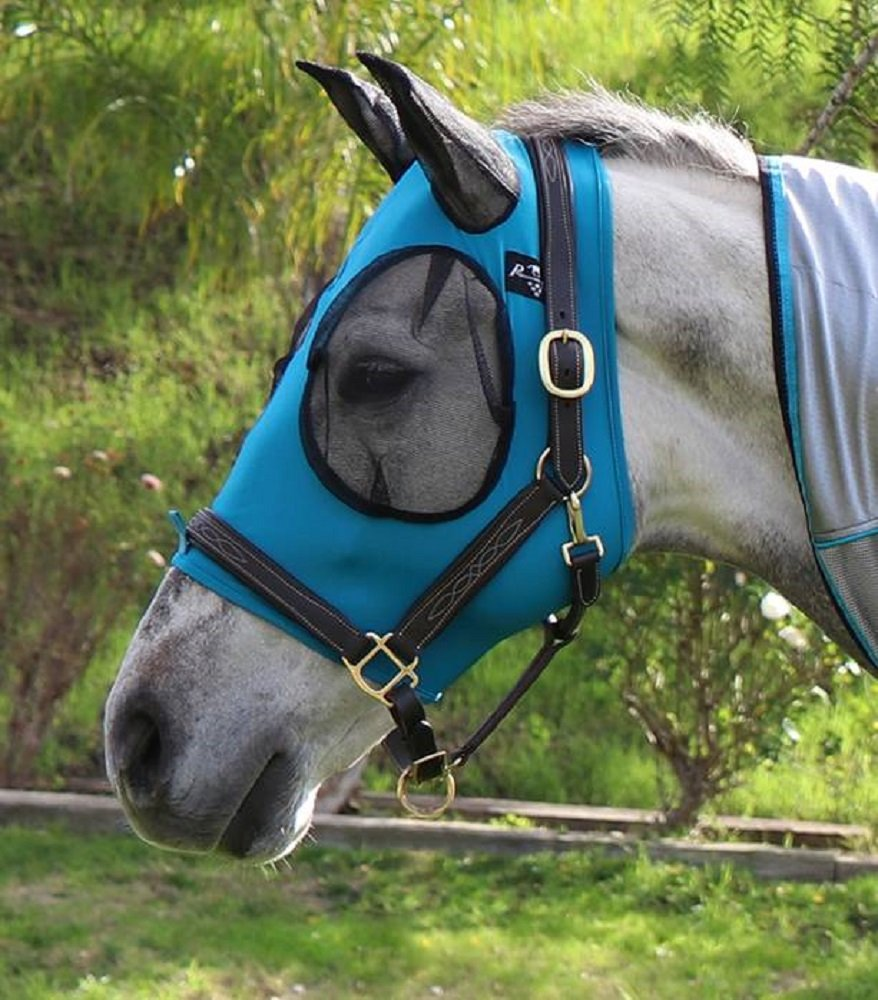 Professional's Choice AVERAGE HORSE TURQUOISE Comfort Fit Lycra Fly Mask Mesh Ears