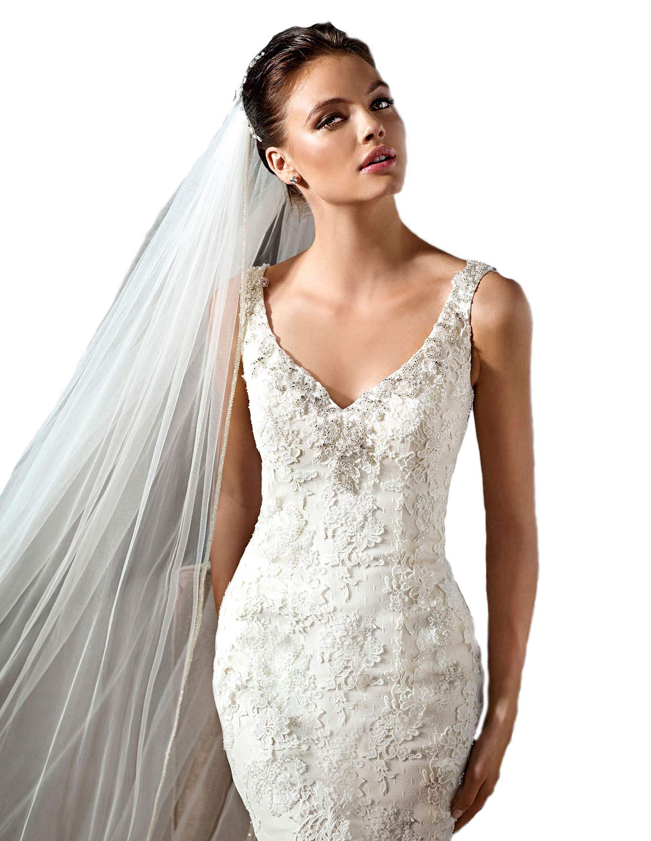Passat White 3M Cathedral a single bead Full Star Bead Edge cathedral accesories bridal Veil H21